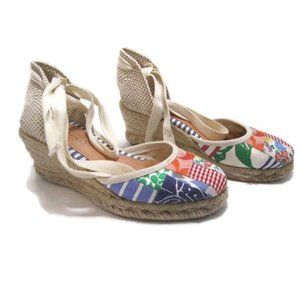 COACH KERRIE PATCHWORK ESPADRILLE WEDGE LACE UP 6